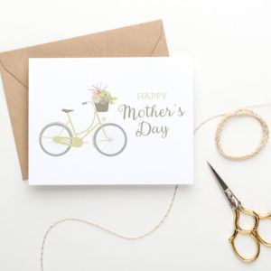 printable mother's day card with bicycle and blooms