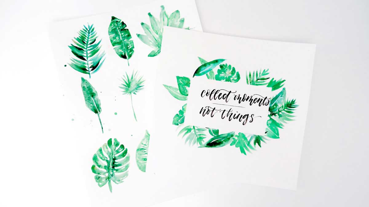 how to paint watercolor tropical leaves