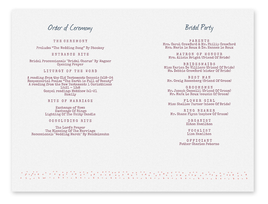 free printable wedding program templates - search results for free wedding program templates