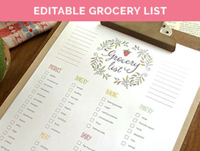 editable grocery list