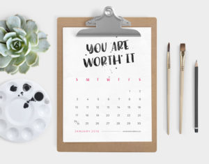 printable 2016 calendar: positive thinking