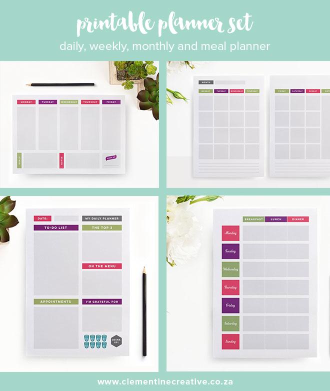 printable planner set