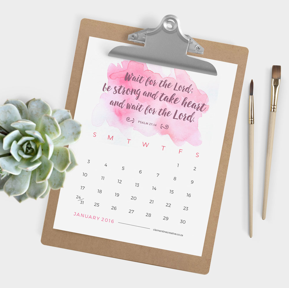 ... Home / Printable Calendars / Printable 2016 Calendar – Bible Verses