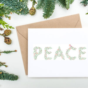 printable Christmas card with floral peace design