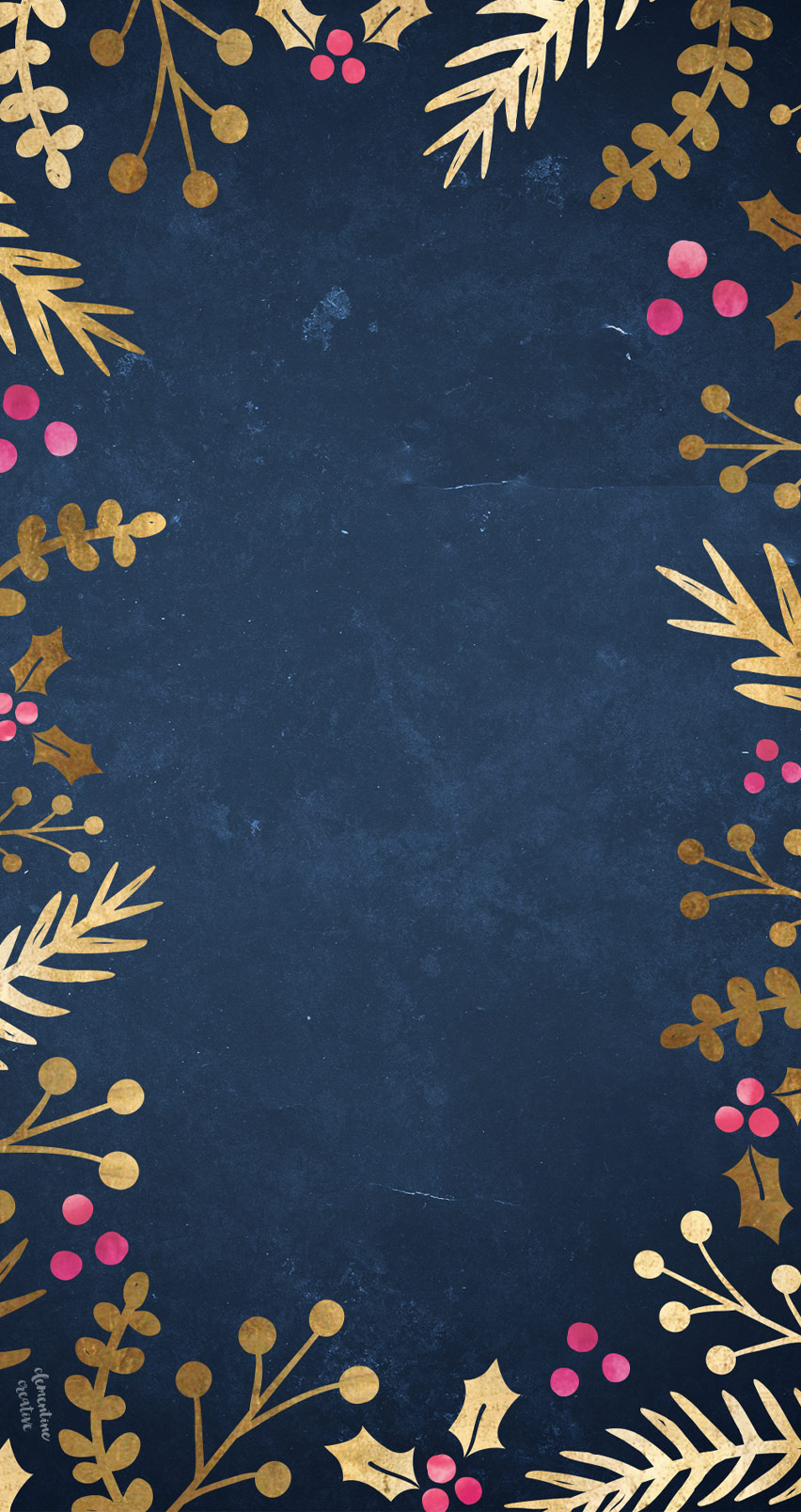 Free Festive Wallpaper: Gold Foil Foliage
