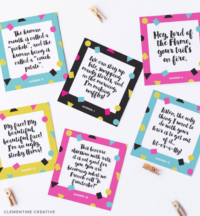 Download this free printable animated movie quote game here. Entertain your friends with this game on game nights, movie nights, birthday parties, etc.