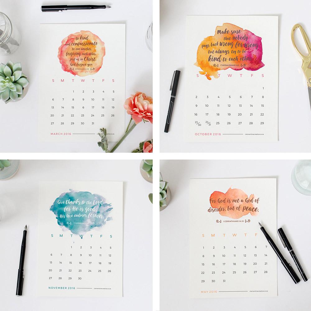 Printable Calendars / Printable 2016 Mini Calendar – Bible Verses ...