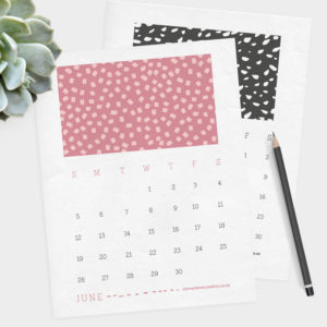 printable 2016 calendar with fun, graphic patterns