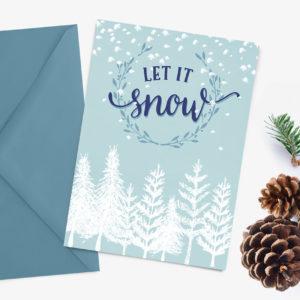 printable white Christmas card - let it snow!