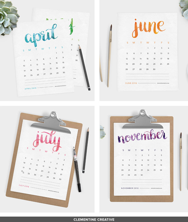 Free printable 2016 calendar by clementine creative this free printable 2016 calendar will brighten up your desk area each month name is solutioingenieria Choice Image