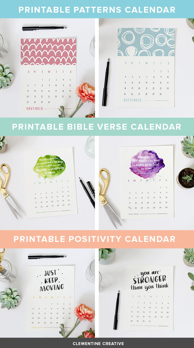 Beautiful printable 2016 calendars from Clementine Creative. Grab yours here!
