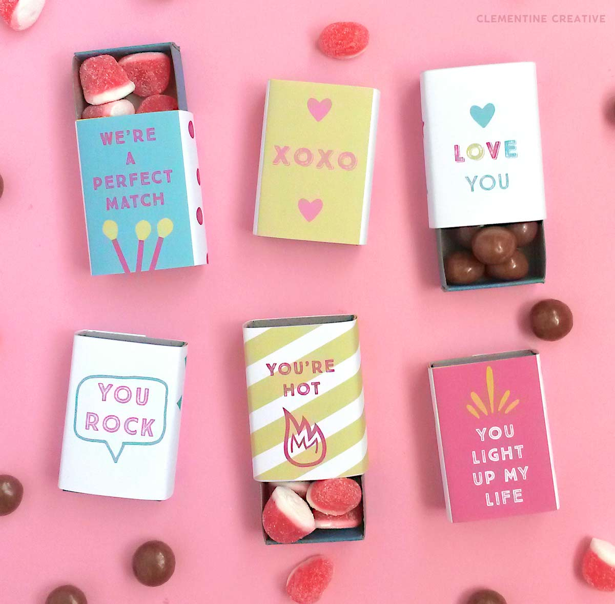free printable matchbox valentines