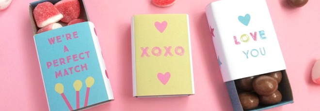 free printable matchbox covers for Valentine's Day gifts