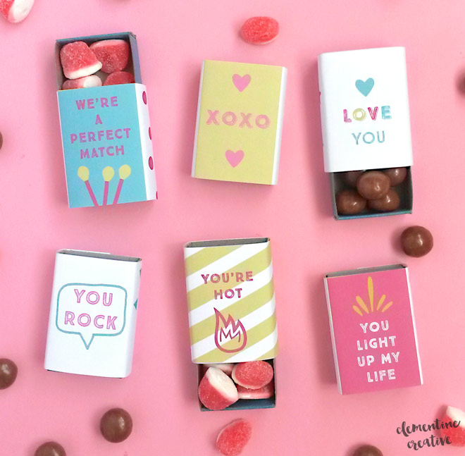 Download these free printable matchbox covers and make mini Valentine's Day gifts!