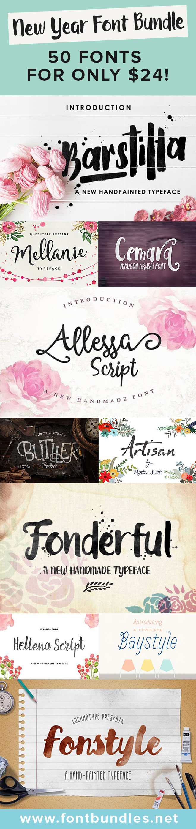 Check out this font bundle consisting of 50 fonts for only $24! That's a saving of 96%. Click here to view this deal
