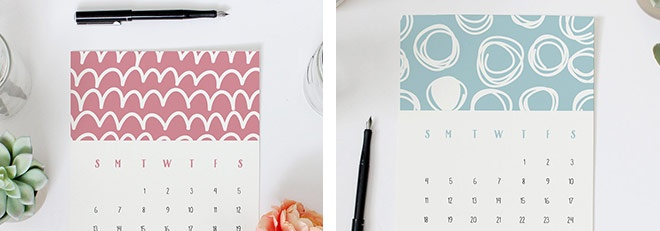 Printable 2016 Calendars in my Shop