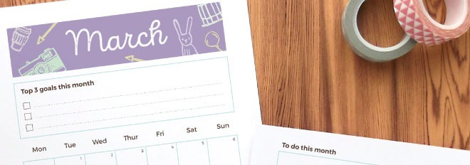 March 2016 Free Printable Monthly Planner Page