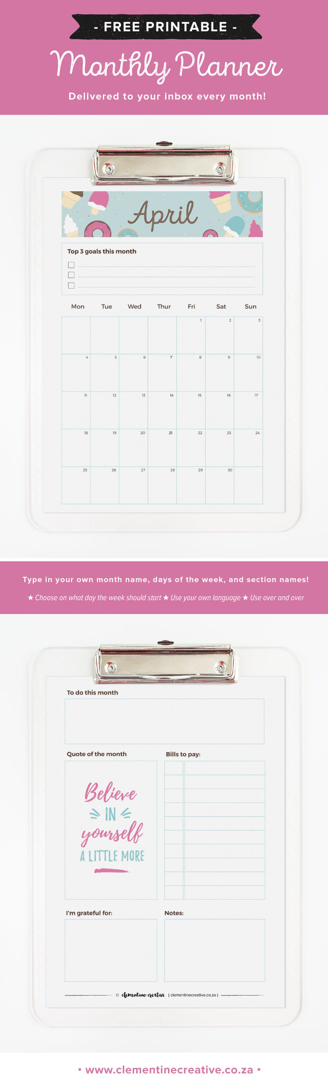 Download this free printable planner for April 2016. It comes in two sizes - A5 for a large Kikki.k or A5 Filofax and A4.