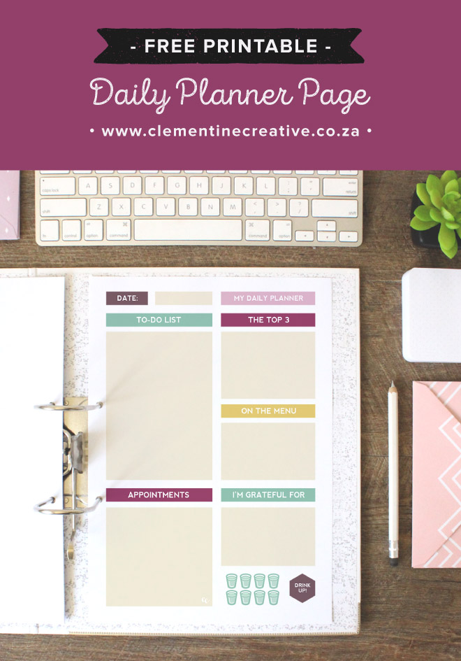 Free Printable Daily Planner Page - Clementine Creative | Diy