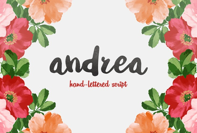 andrea free hand lettered script