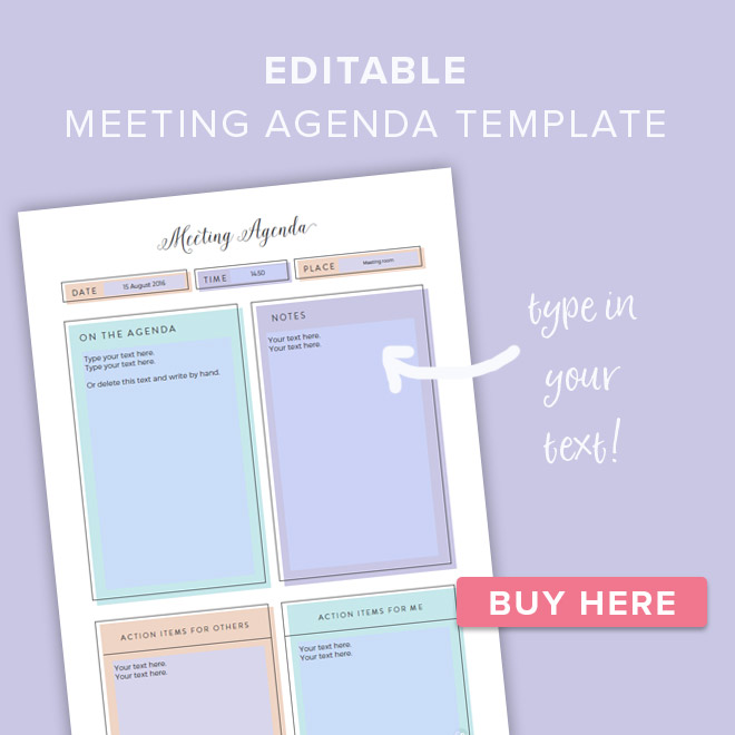 Free Pretty Printable Meeting Agenda Templates