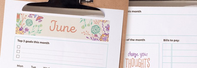 June 2016 Printable Monthly Planner