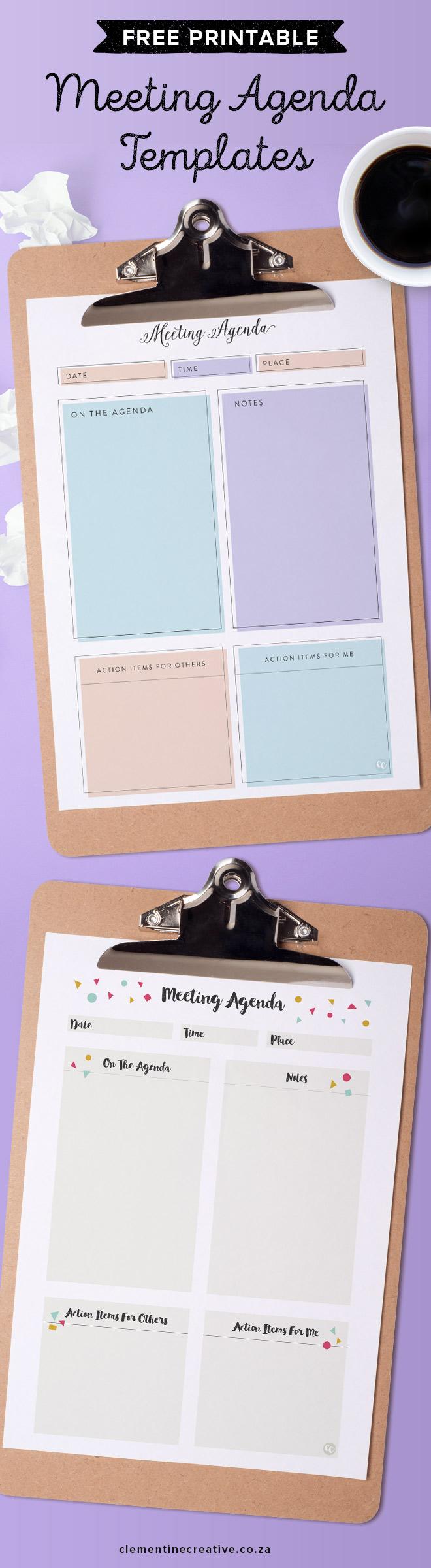 free pretty printable meeting agenda templates. Black Bedroom Furniture Sets. Home Design Ideas