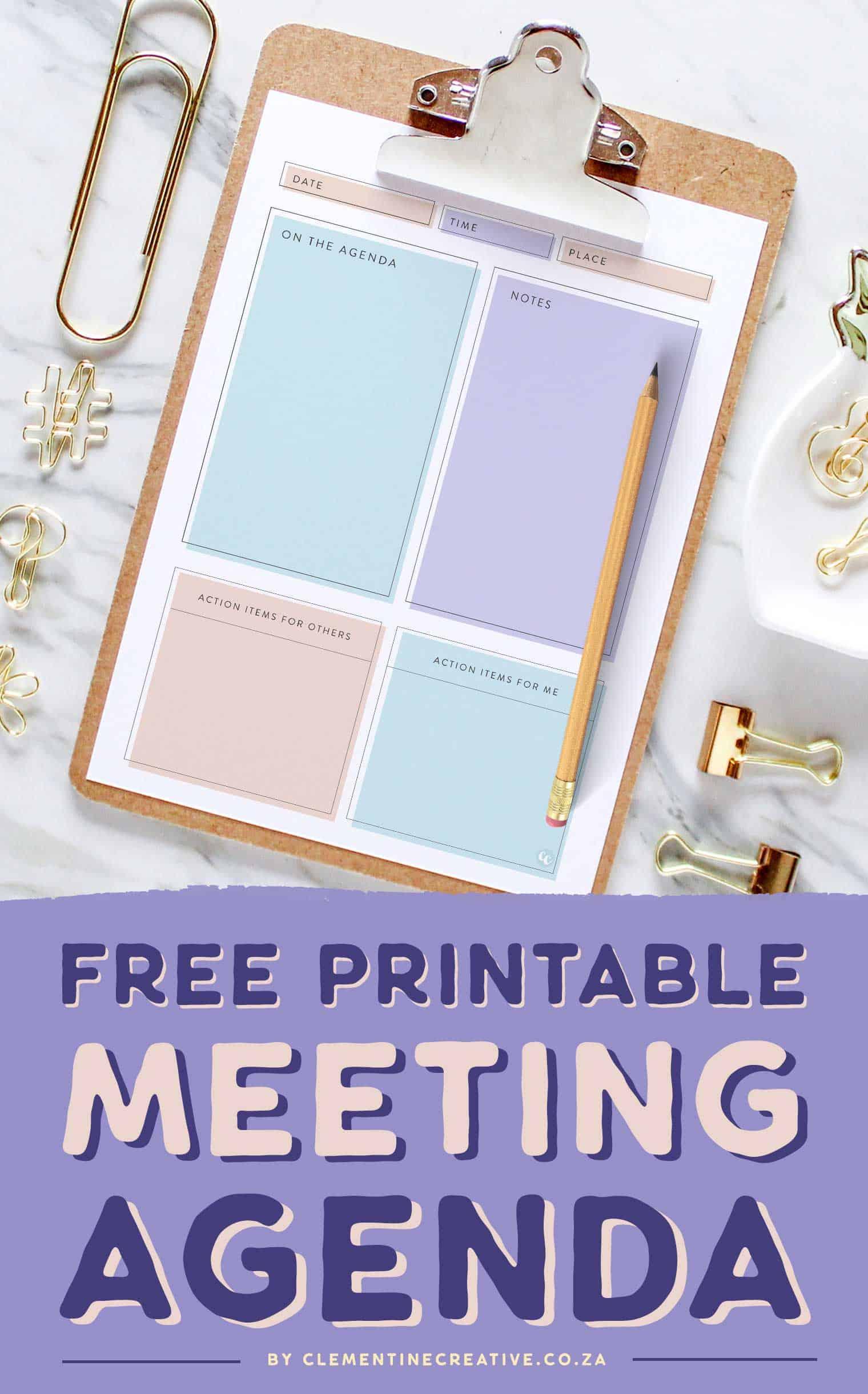free stylish   feminine printable meeting agenda template