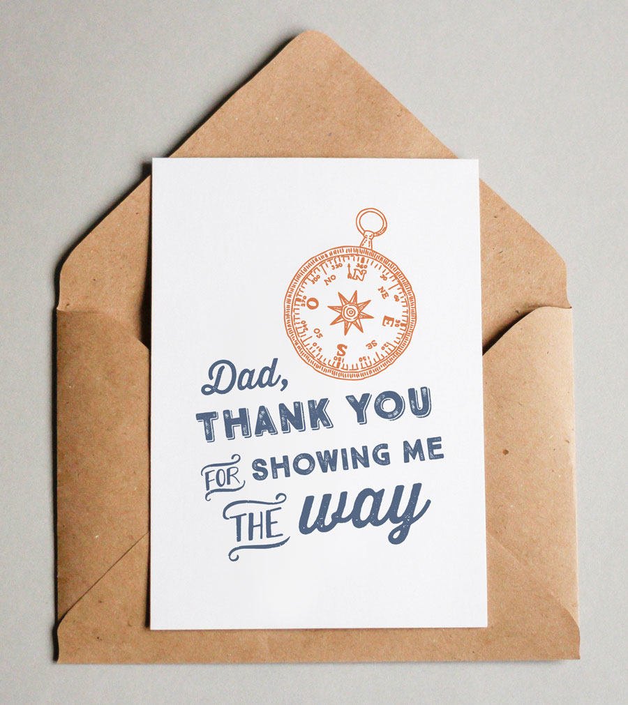 printable father's day card with compass