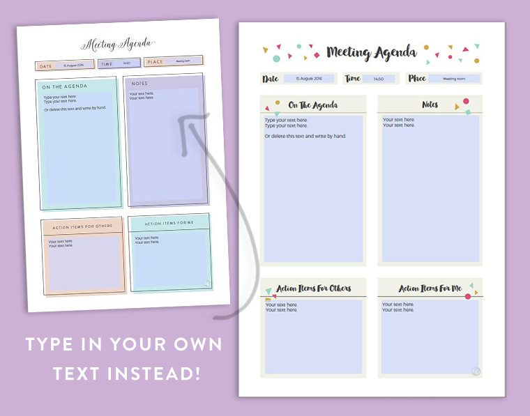 Printable Meeting Agenda Template With Fillable Fields