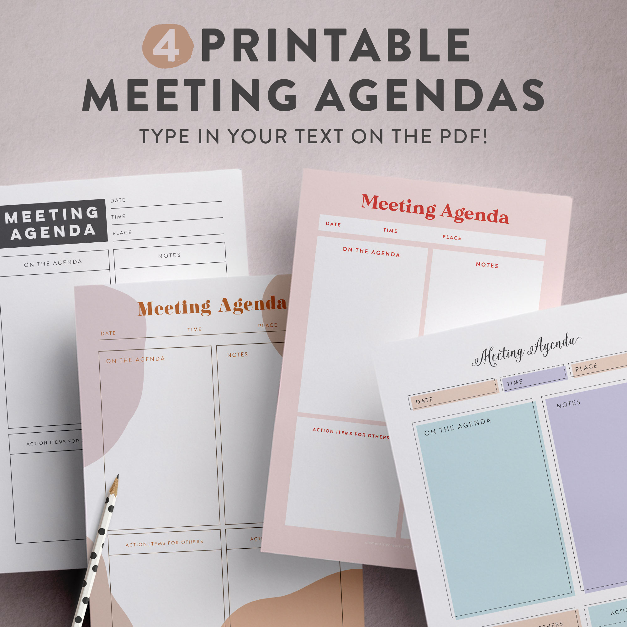 free stylish   feminine printable meeting agenda template