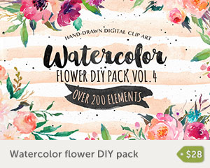 watercolour flower pack