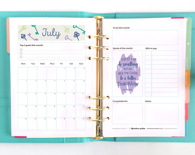 July 2016 Printable Monthly Planner - Clementine Creative | Diy