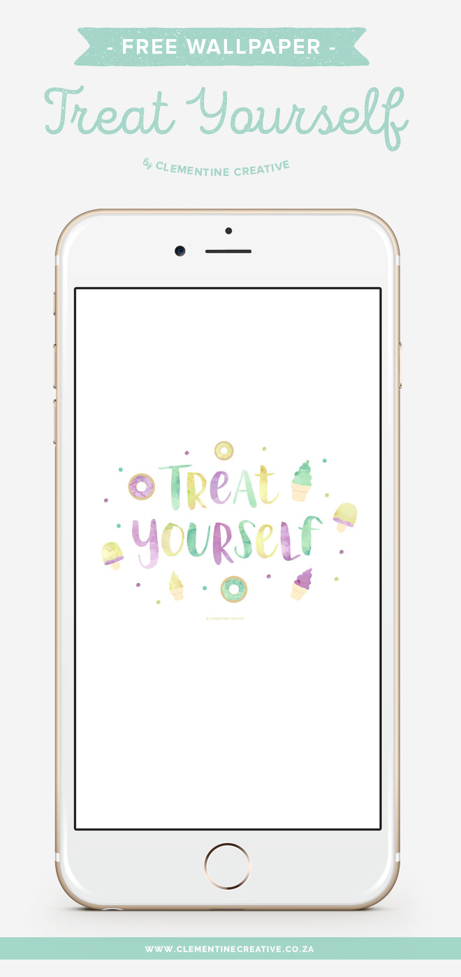 Treat yourself! Download these delicious wallpapers for your desktop, ipad and phone. You'll love this yummy wallpaper with hand lettered text and watercolour goodies.