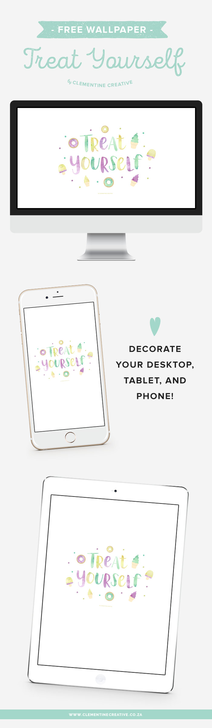 Treat yourself! Download these delicious wallpapers for your desktop, ipad and phone. You'll love this yummy wallpaper with hand lettered text and watercolour sweets.