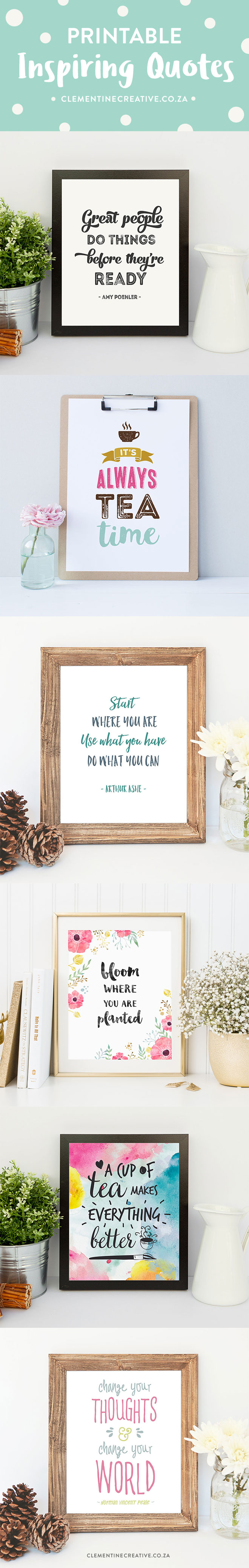 Need a little motivation on dull days? These beautiful printable inspirational quote prints will surely motivate you to get back in the groove!