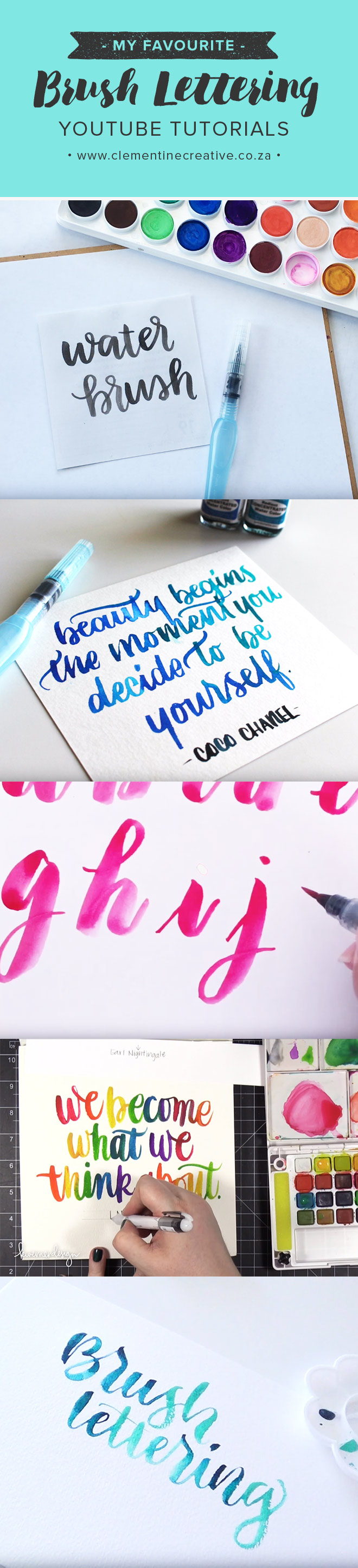 Want to learn brush lettering? Check out this roundup of brilliant youtube tutorials for beginners on how to use a water brush.
