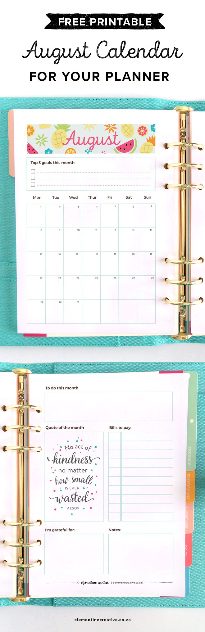 Get a new free printable monthly planner insert for your kikki.K or Filofax delivered to your inbox every month! Get August's calendar/planner here.