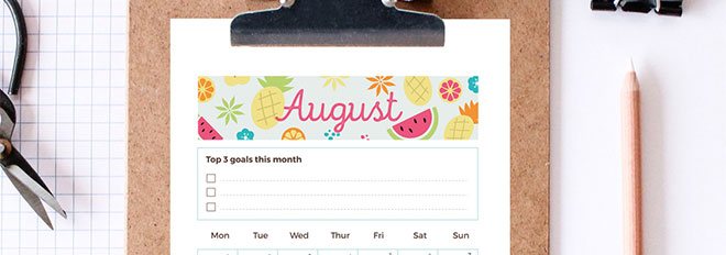 free printable august 2016 monthly planner page