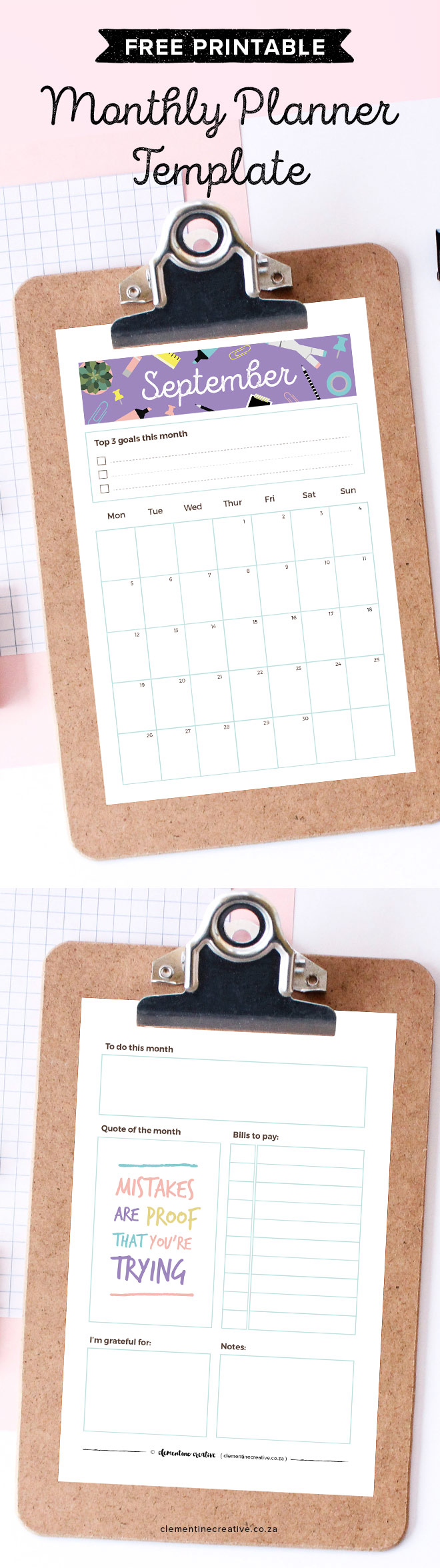 Get a new free printable monthly planner every month to insert in your kikki.K, Filofax or larger binder. Get September's calendar/planner here.