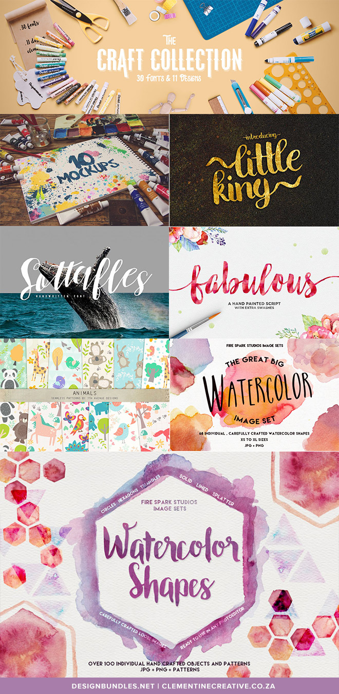 The Craft Collection includes 30 fonts and 11 design elements like watercolour textures, patterns, and sketchbook mockups for only $29. That's a saving of 96%. Click here to see what else is included in the bundle.