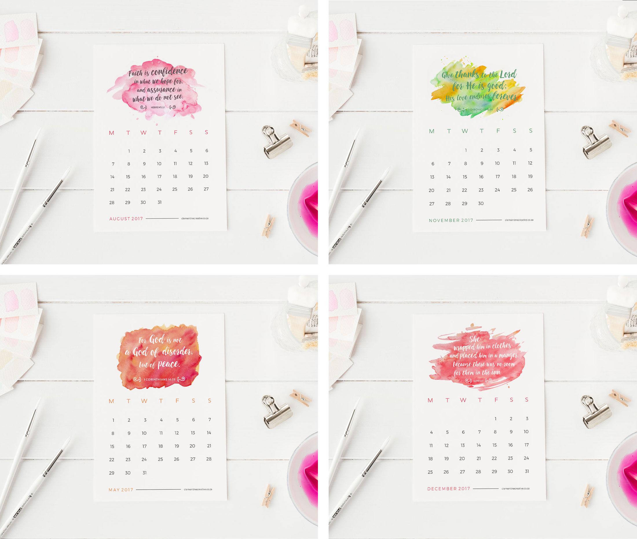 ... Printable Calendars / Printable 2017 Mini Desk Calendar – Bible