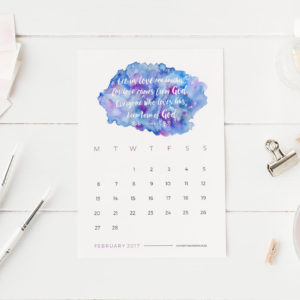 Be inspired every day with this printable 2017 desk calendar with a new Bible verse and colourful watercolour background for each month. Download instantly, print out and proudly display your new calendar on your desk. Each month is 4 x 6 inch or 10 x 15,2 cm. The week starts on a Monday.