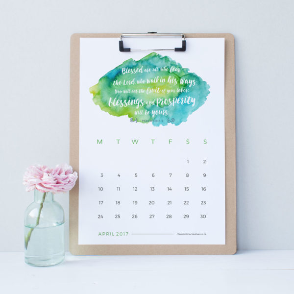 Be inspired every day with this printable 2017 wall calendar with a new Bible verse and colourful watercolour background for each month. Download instantly, print out and proudly display your new calendar on your desk. The week starts on a Monday.