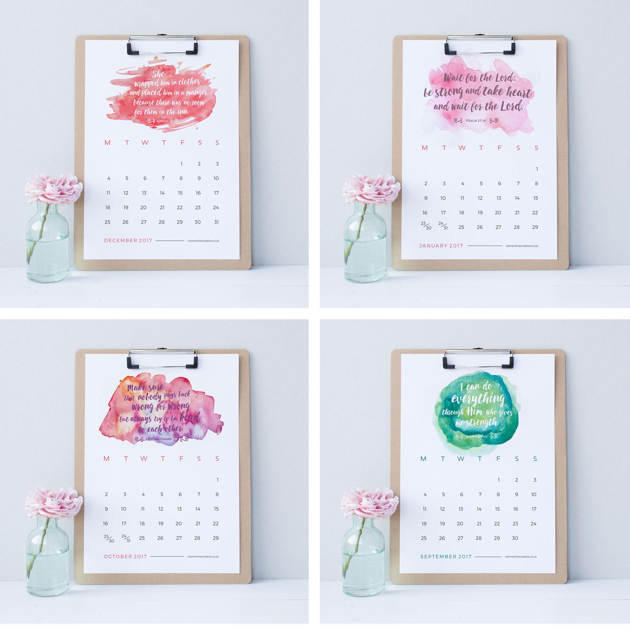 ... Printable Calendars / Printable 2017 Wall Calendar – Bible Verses