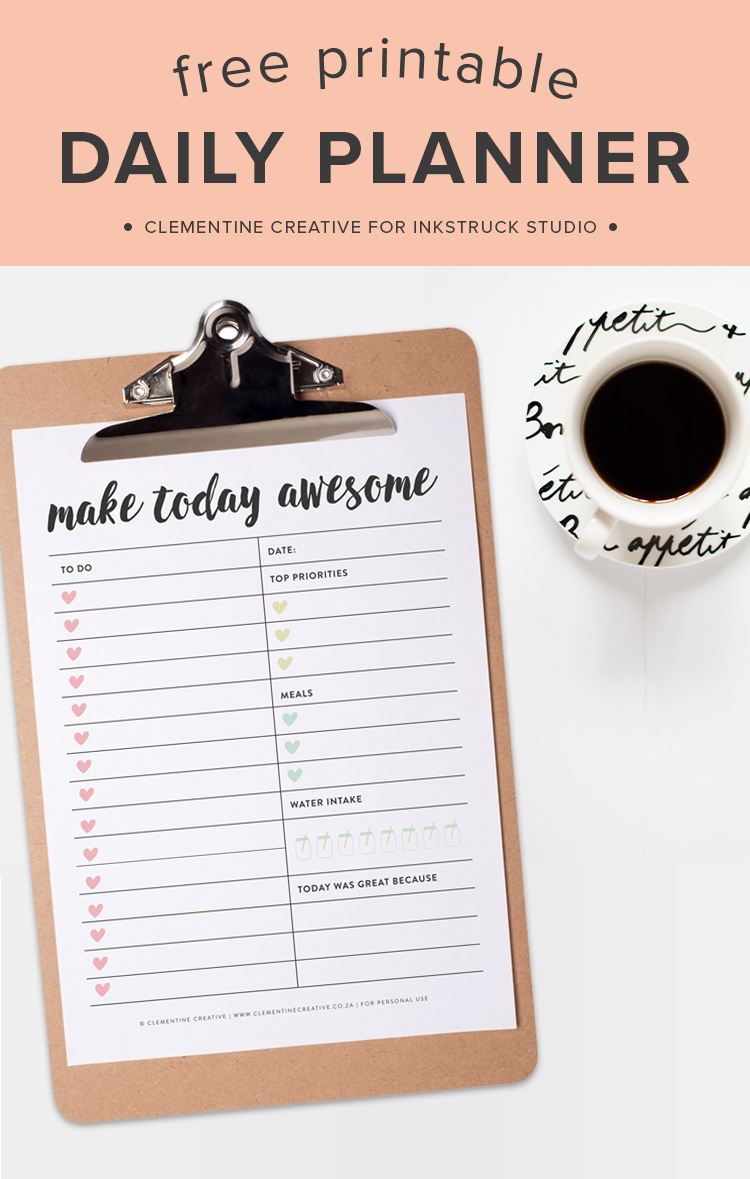 Download this free printable daily planner today and begin your day in an organized fashion :)