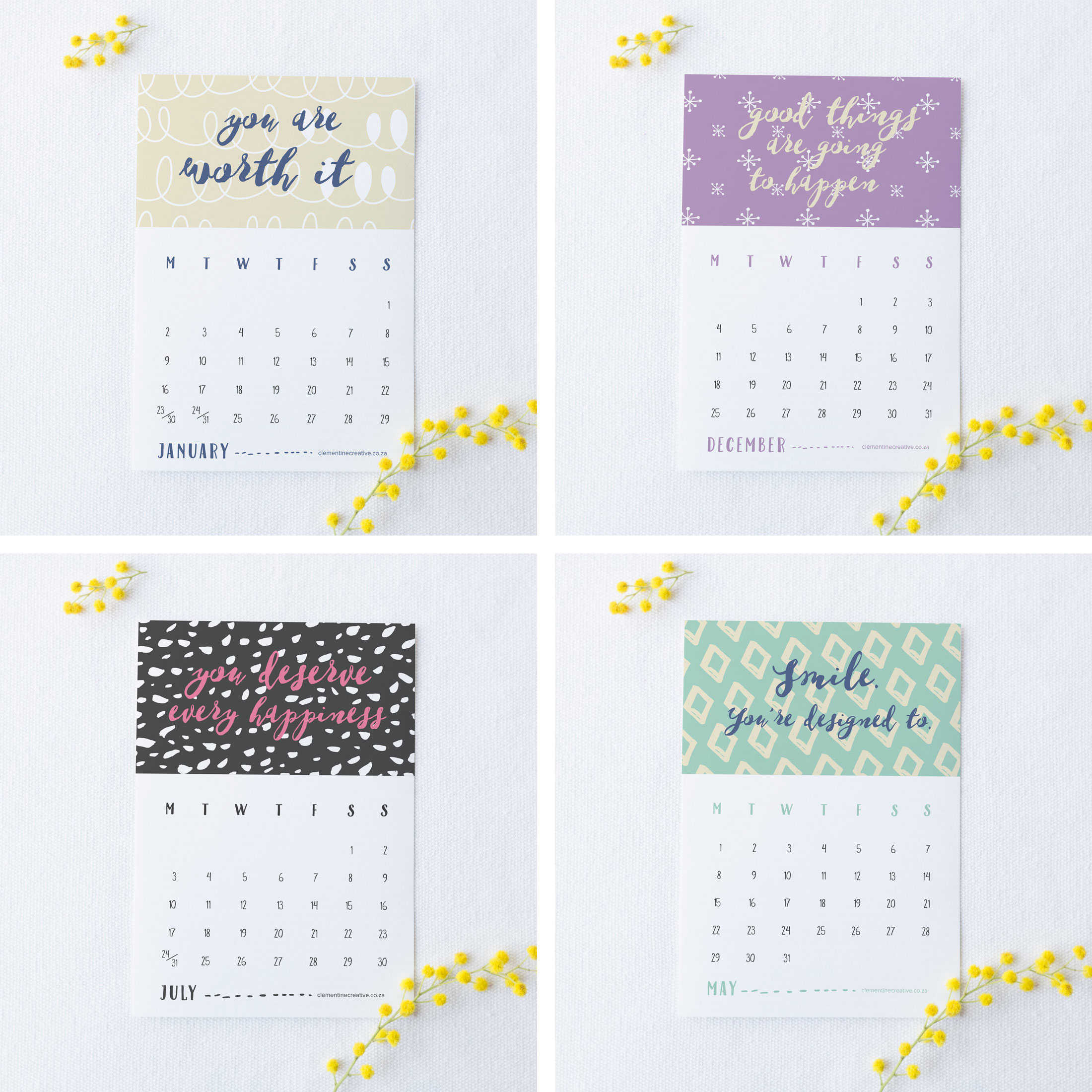 Calendar Quotes For Each Day : Printable desk calendar patterns positivity