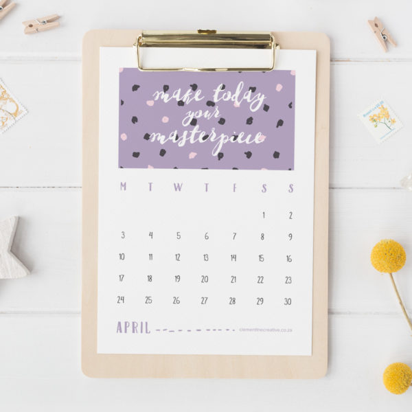Stay positive every day with this lovely printable 2017 calendar. Each month contains a different pattern and positive quote. Download the full calendar here.