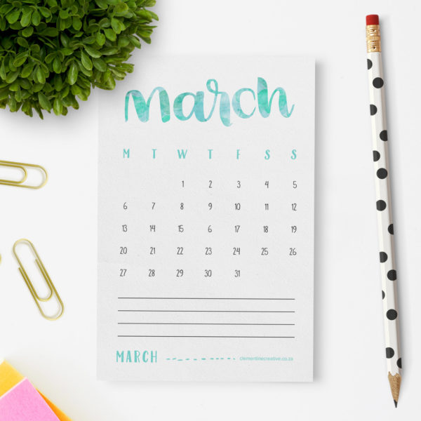 Add a handmade touch to your workspace with this beautiful hand lettered 2017 calendar. Print it out and place it on your desk for instant colour!