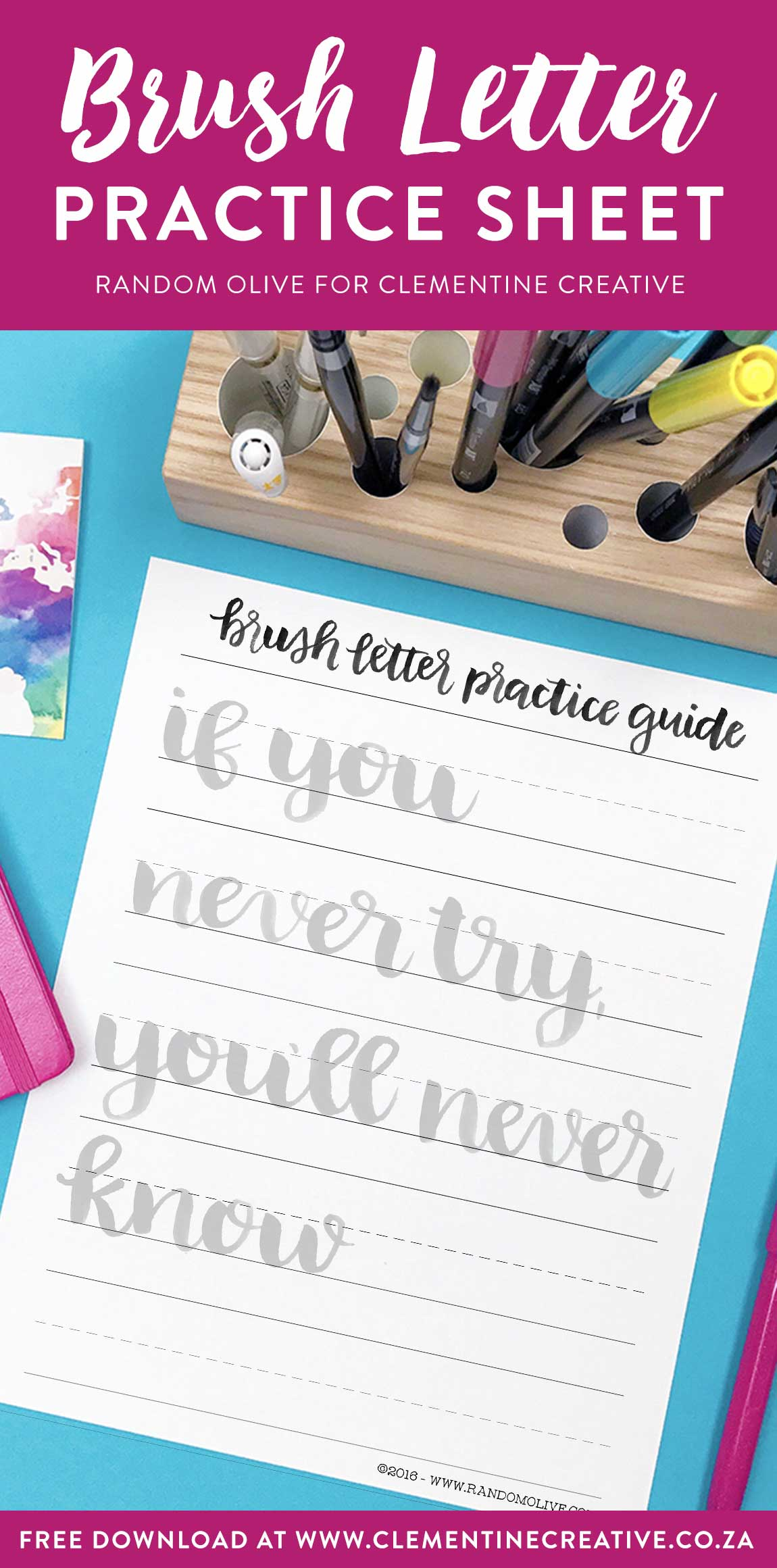 photograph about Brush Lettering Practice Sheets Printable titled No cost Brush Lettering Prepare Sheet: If By yourself In no way Test, Your self